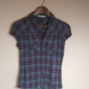Maurices womens plaid short sleeve button down top